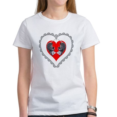 Opossum Valentines Day Heart Women's T-Shirt