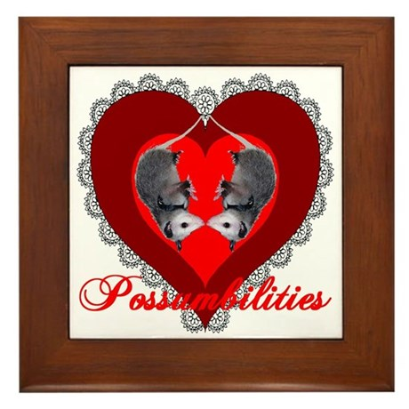 Possumbilities Valentines Day Framed Tile