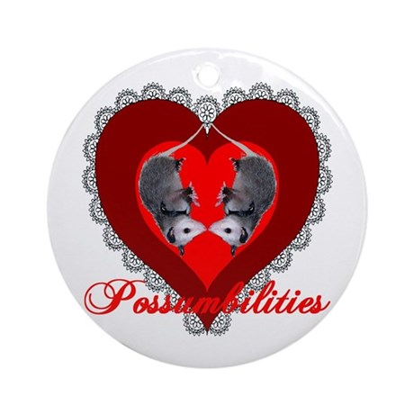 Possumbilities Valentines Day Ornament (Round)