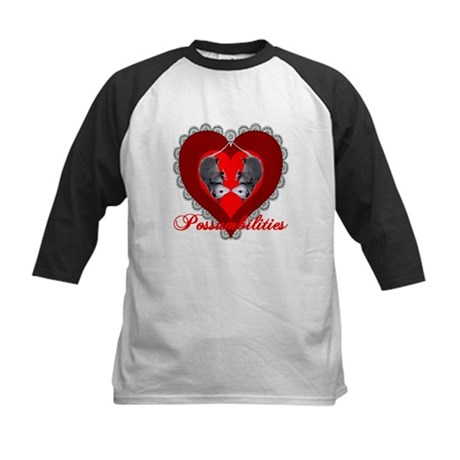 Possumbilities Valentines Day Kids Baseball Jersey