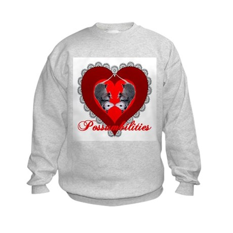 Possumbilities Valentines Day Kids Sweatshirt