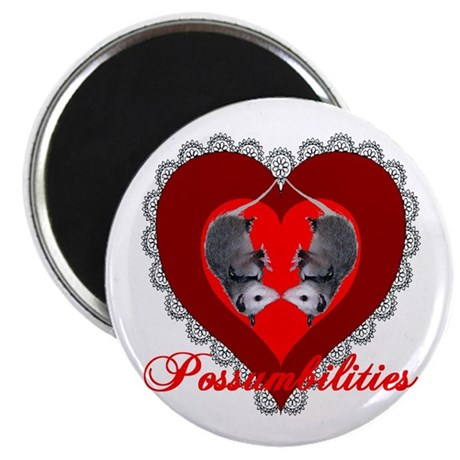 "Possumbilities Valentines Day 2.25"" Magnet (100 pa"