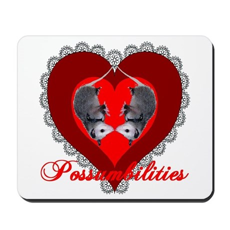 Possumbilities Valentines Day Mousepad