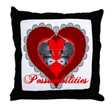 Possumbilities Valentines Day Throw Pillow