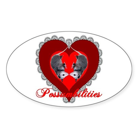 Possumbilities Valentines Day Oval Sticker