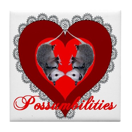 Possumbilities Valentines Day Tile Coaster
