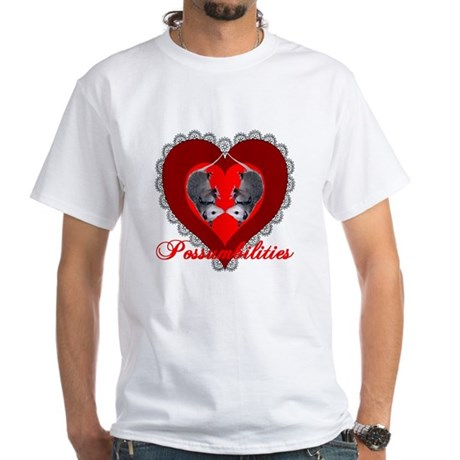Possumbilities Valentines Day White T-Shirt