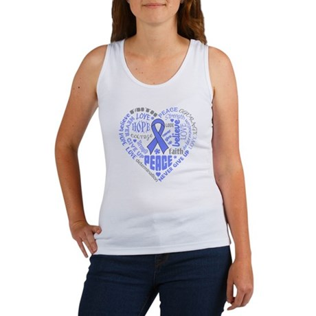 Esophageal Cancer Heart Words Women's Tank Top