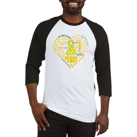 Ewings Sarcoma Heart Words Baseball Jersey