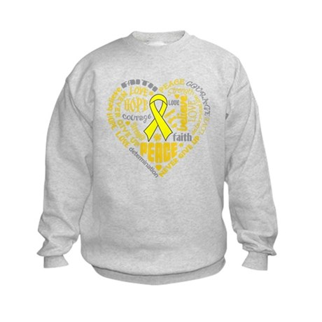 Ewings Sarcoma Heart Words Kids Sweatshirt