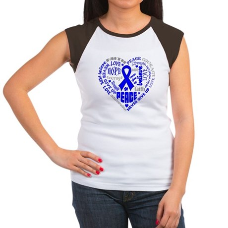 Colon Cancer Heart Words Women's Cap Sleeve T-Shir