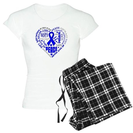 Colon Cancer Heart Words Women's Light Pajamas