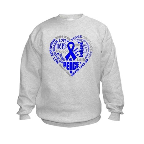 Colon Cancer Heart Words Kids Sweatshirt