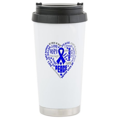Colon Cancer Heart Words Ceramic Travel Mug