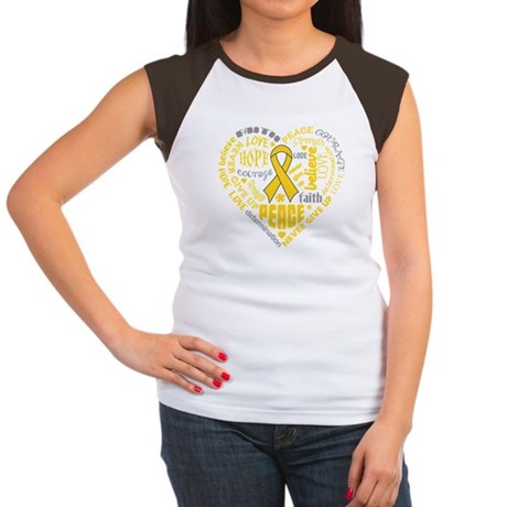Childhood Cancer Heart Words Women's Cap Sleeve T-