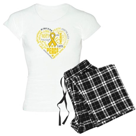 Childhood Cancer Heart Words Women's Light Pajamas
