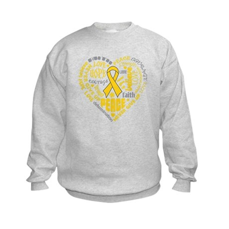Childhood Cancer Heart Words Kids Sweatshirt