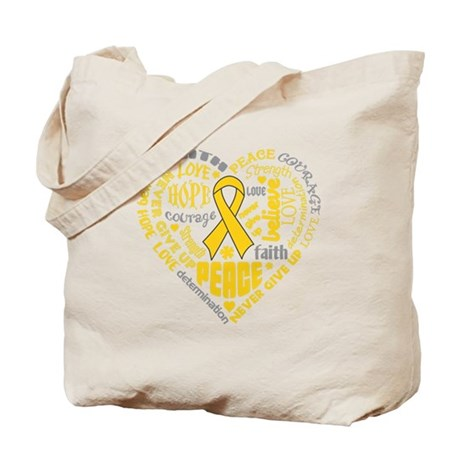 Childhood Cancer Heart Words Tote Bag