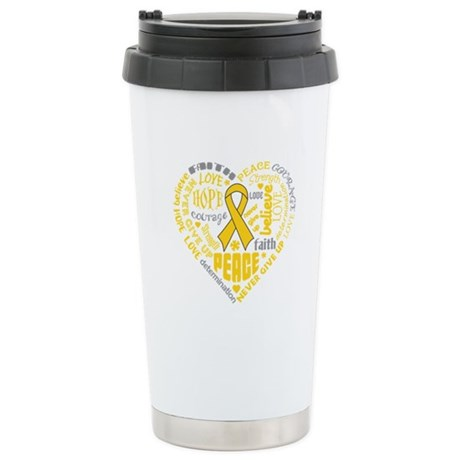 Childhood Cancer Heart Words Ceramic Travel Mug