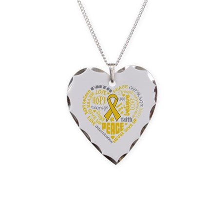 Childhood Cancer Heart Words Necklace Heart Charm