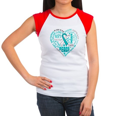Cervical Cancer Heart Words Women's Cap Sleeve T-S