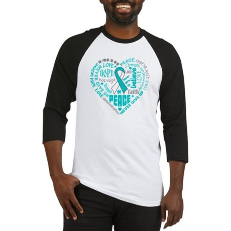 Cervical Cancer Heart Words Baseball Jersey