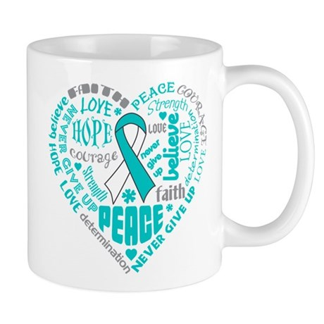 Cervical Cancer Heart Words Mug