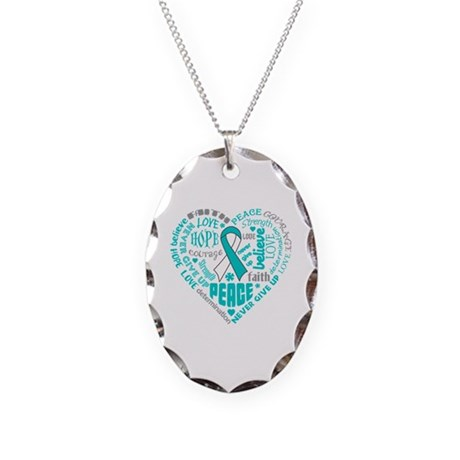 Cervical Cancer Heart Words Necklace Oval Charm