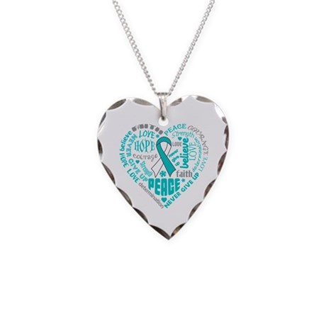 Cervical Cancer Heart Words Necklace Heart Charm