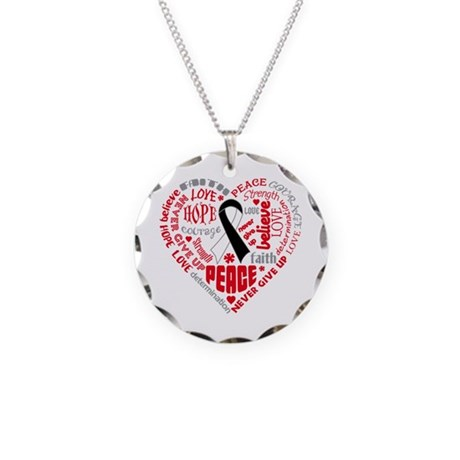 Carcinoid Cancer Heart Words Necklace Circle Charm