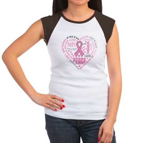Breast Cancer Heart Words Women's Cap Sleeve T-Shi