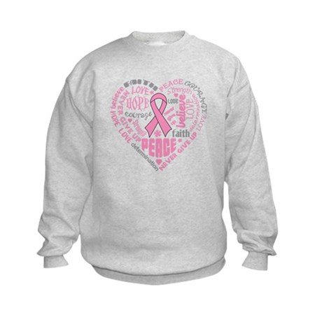Breast Cancer Heart Words Kids Sweatshirt