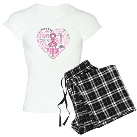Breast Cancer Heart Words Women's Light Pajamas