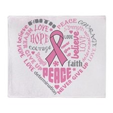 Breast Cancer Heart Words Throw Blanket