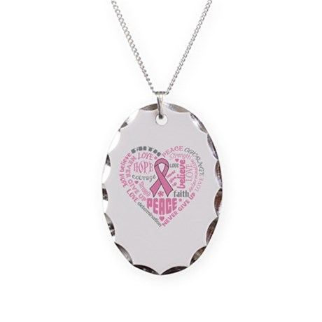 Breast Cancer Heart Words Necklace Oval Charm