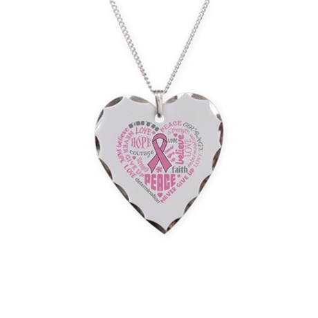 Breast Cancer Heart Words Necklace Heart Charm