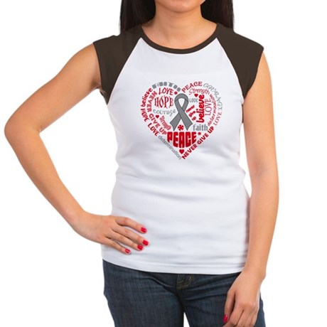 Brain Cancer Heart Words Women's Cap Sleeve T-Shir