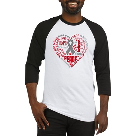 Brain Cancer Heart Words Baseball Jersey