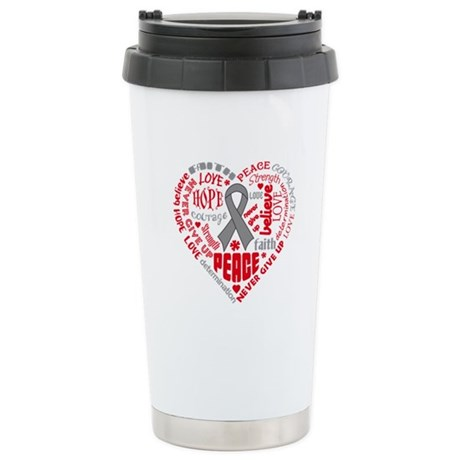Brain Cancer Heart Words Ceramic Travel Mug