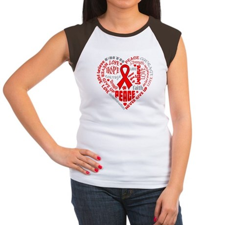 Blood Cancer Heart Words Women's Cap Sleeve T-Shir