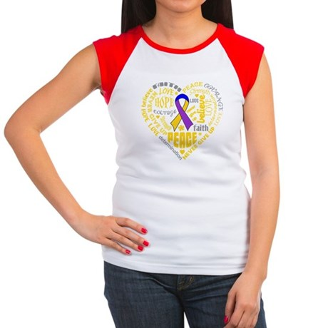 Bladder Cancer Heart Words Women's Cap Sleeve T-Sh