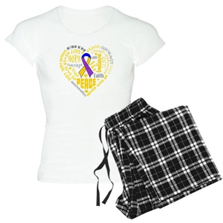 Bladder Cancer Heart Words Women's Light Pajamas