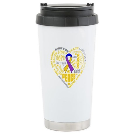 Bladder Cancer Heart Words Ceramic Travel Mug