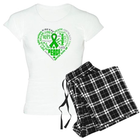 Bile Duct Cancer Heart Words Women's Light Pajamas