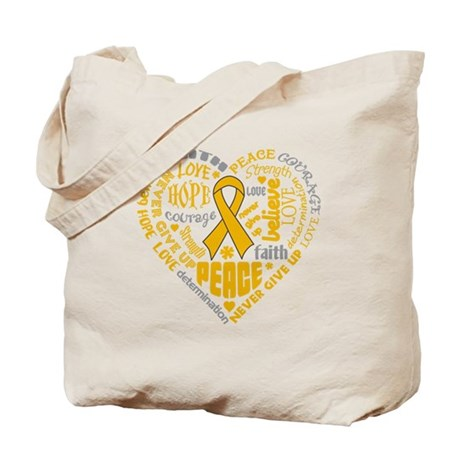 Appendix Cancer Heart Words Tote Bag
