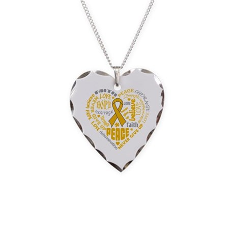 Appendix Cancer Heart Words Necklace Heart Charm