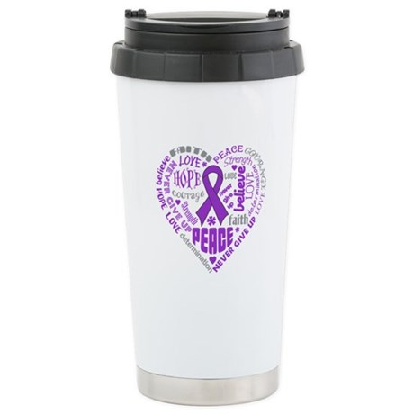 Alzheimers Disease Heart Words Ceramic Travel Mug