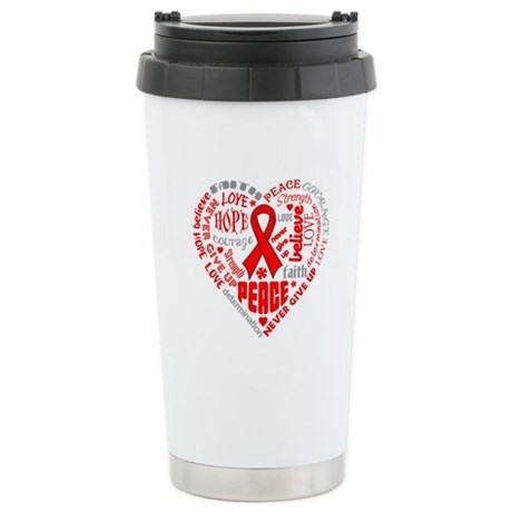 AIDS Heart Words Ceramic Travel Mug