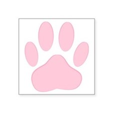 "Pink Dog Pawprint  Square Sticker 3"" x 3"""