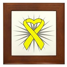 Testicular Cancer Heart Ribbon Framed Tile